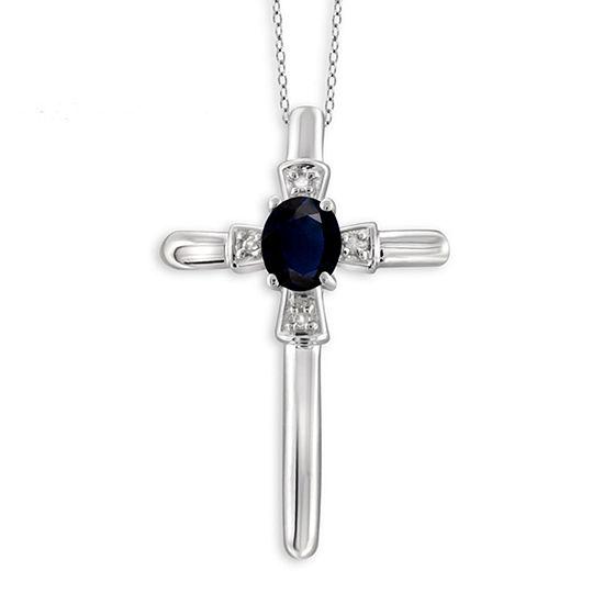 Womens Diamond Accent Genuine Blue Sapphire Sterling Silver Pendant