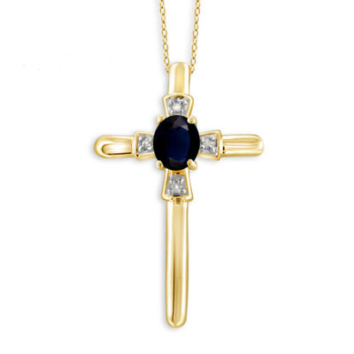Diamond Accent Blue Sapphire Oval Gold Over Silver Pendant