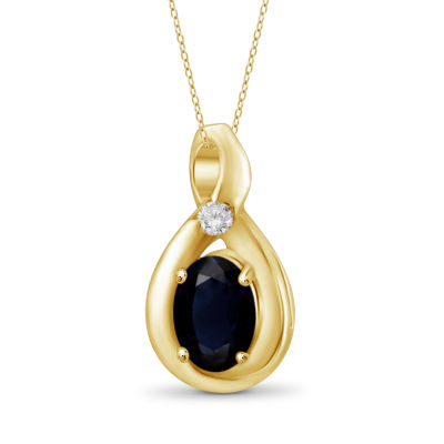 Womens Diamond Accent Genuine Blue Sapphire 14K Gold Over Silver Pendant