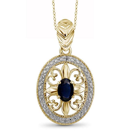 Womens Diamond Accent Genuine Blue Sapphire 14K Gold Over Silver Pendant Necklace