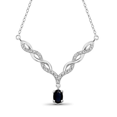 Womens Diamond Accent Genuine Blue Sapphire Sterling Silver Y Necklace