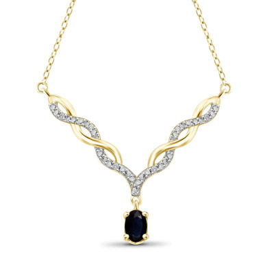 Womens Diamond Accent Blue Sapphire Y Necklace