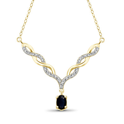 Womens Diamond Accent Genuine Blue Sapphire 14K Gold Over Silver Y Necklace