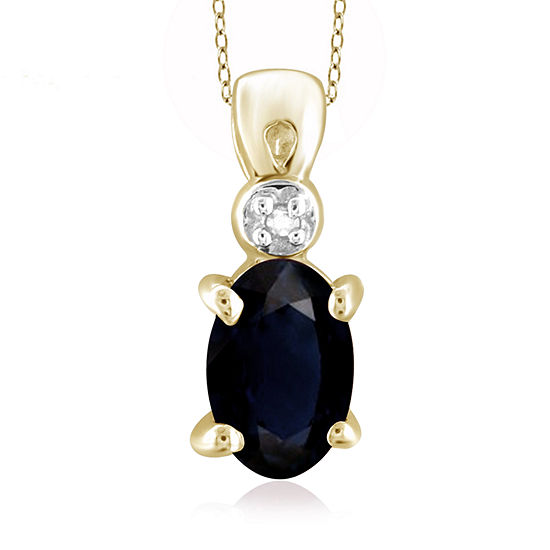 Womens Diamond Accent Genuine Blue Sapphire 14K Gold Over Silver Pendant