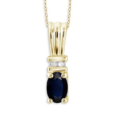 Womens Diamond Accent Genuine Blue Sapphire 14K Gold Over Silver Pendant Necklace