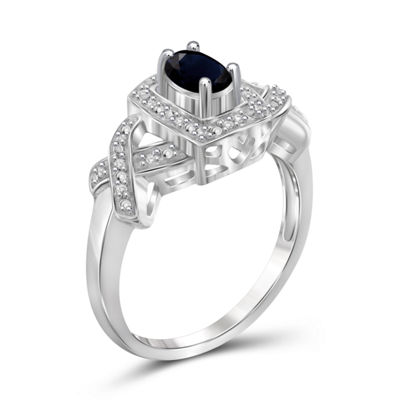Womens Diamond Accent Blue Sapphire Sterling Silver Band