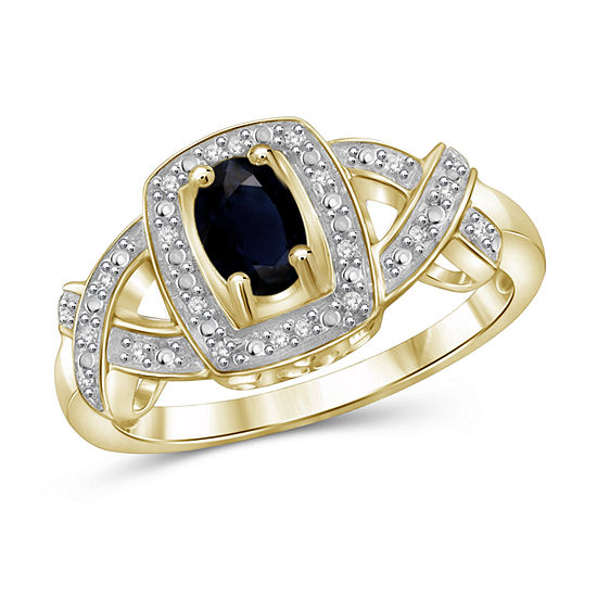 2 Mm Diamond Accent Genuine Blue Sapphire 14K Gold Over Silver Band