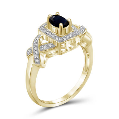 Womens Diamond Accent Genuine Blue Sapphire Gold Over Silver Band