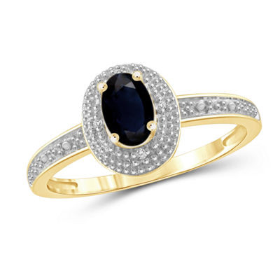 Womens Diamond Accent Genuine Blue Sapphire 14K Gold Over Silver Halo Ring