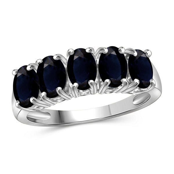 Womens Genuine Blue Sapphire Sterling Silver Band
