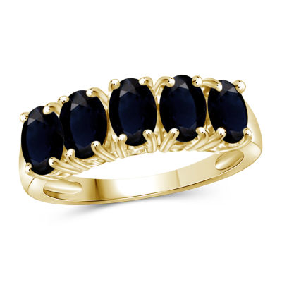 Womens 2 Mm Genuine Blue Sapphire 14K Gold Over Silver Band