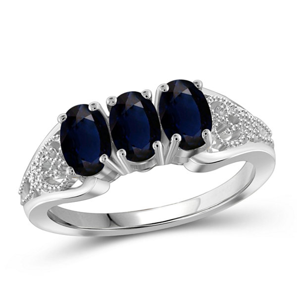 Womens Genuine Blue Sapphire Sterling Silver 3-Stone Ring
