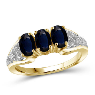 Womens 2 Mm 2 CT. T.W. Genuine Blue Sapphire 14K Gold Over Silver 3-Stone Band