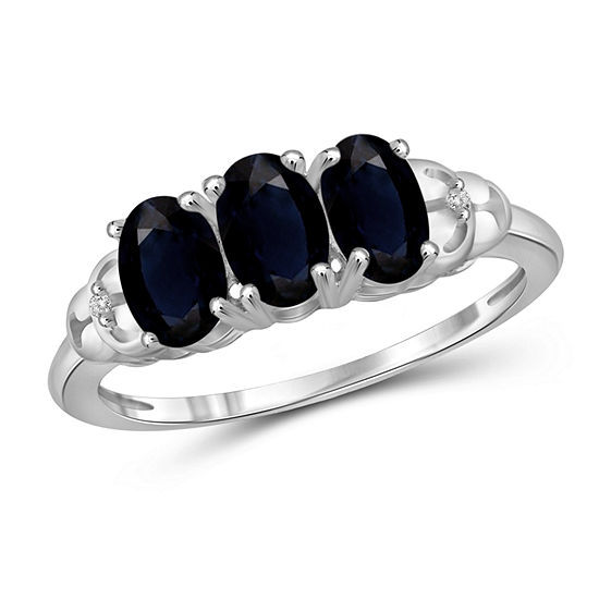 Womens Diamond Accent Genuine Blue Sapphire Sterling Silver 3 Stone Band