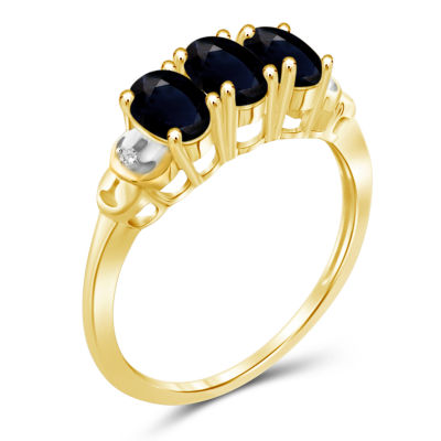 Womens 2 CT. T.W. Genuine Blue Sapphire Gold Over Silver 3-Stone Ring