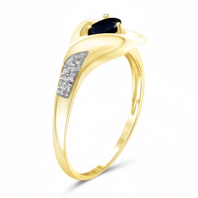 Womens Diamond Accent Genuine Blue Sapphire Gold Over Silver Cocktail Ring
