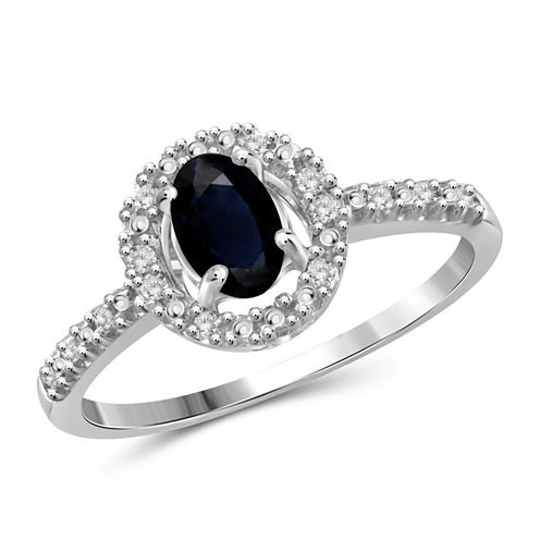 Womens Diamond Accent Genuine Blue Sapphire Sterling Silver Halo Ring