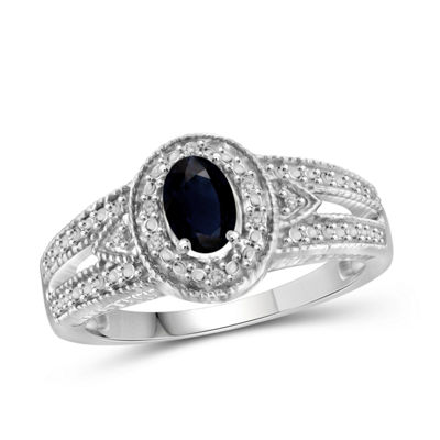 Womens 2 Mm Diamond Accent Genuine Blue Sapphire Sterling Silver Band
