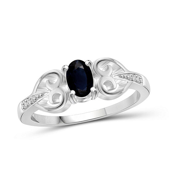 Womens Diamond Accent Genuine Blue Sapphire Sterling Silver Promise Ring