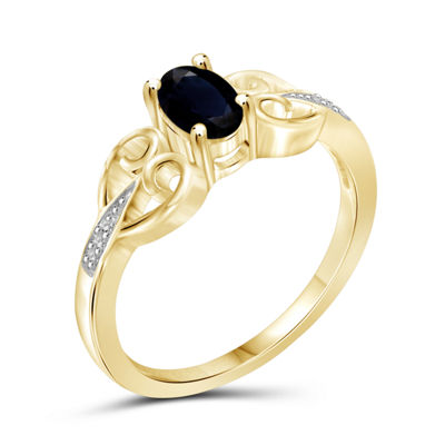 Womens Diamond Accent Genuine Blue Sapphire 14K Gold Over Silver Engagement Ring
