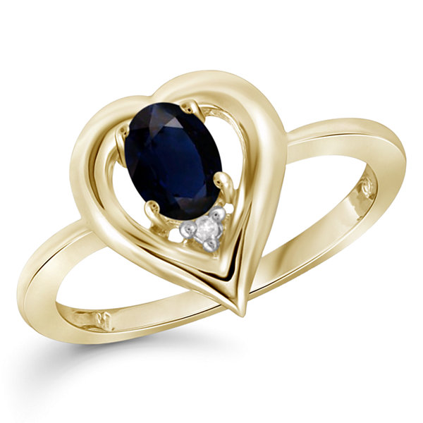 Womens Diamond Accent Genuine Blue Sapphire Gold Over Silver Engagement Ring