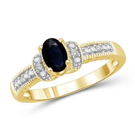 Womens 2.5MM Diamond Accent Genuine Blue Sapphire 14K Gold Over Silver Band