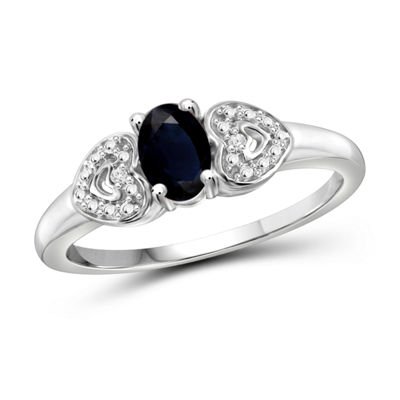 Womens Diamond Accent Blue Sapphire Sterling Silver Engagement Ring