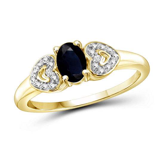 Womens Diamond Accent Genuine Blue Sapphire 14K Gold Over Silver Promise Ring
