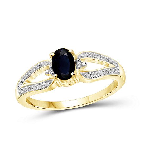 Diamond Accent Genuine Blue Sapphire 14K Gold Over Silver Band