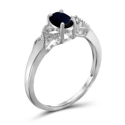 Womens Diamond Accent Genuine Blue Sapphire Sterling Silver Band