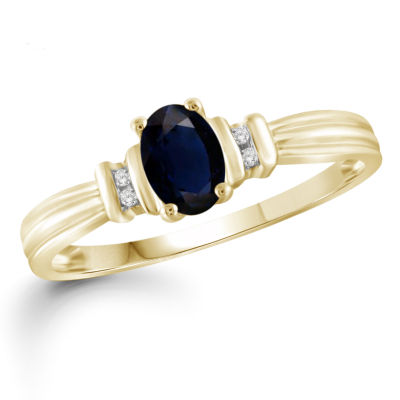 Womens Diamond Accent Genuine Blue Sapphire 14K Gold Over Silver Band