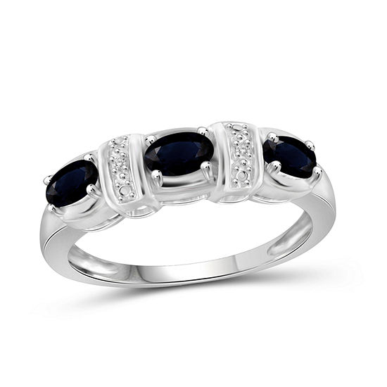 Womens 2 Mm Diamond Accent Genuine Blue Sapphire Sterling Silver 3-Stone Band