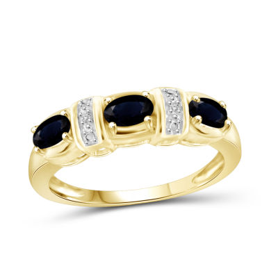 Womens 2 Mm Diamond Accent Genuine Blue Sapphire 14K Gold Over Silver 3-Stone Band
