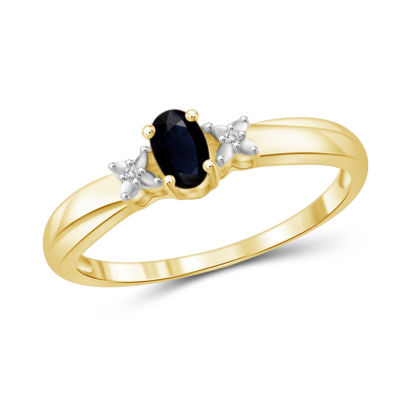 Womens Diamond Accent Blue Sapphire Gold Over Silver Band