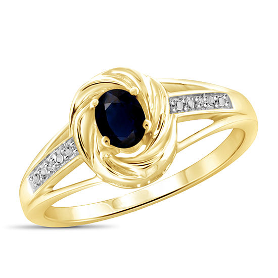Womens 2 Mm Diamond Accent Genuine Blue Sapphire 14k Gold Over Silver Band