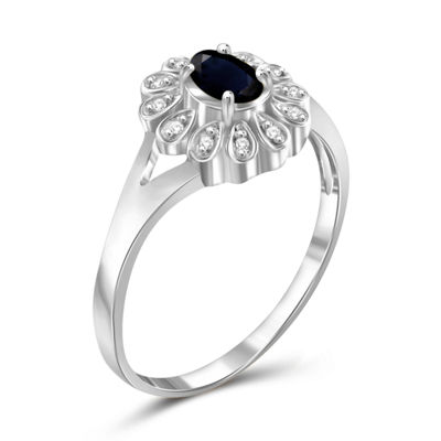 Womens Diamond Accent Genuine Blue Sapphire Sterling Silver Cocktail Ring