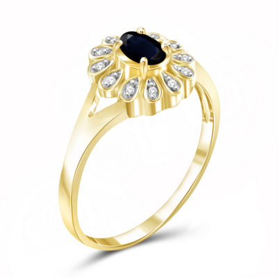 Womens Diamond Accent Genuine Blue Sapphire 14K Gold Over Silver Cocktail Ring
