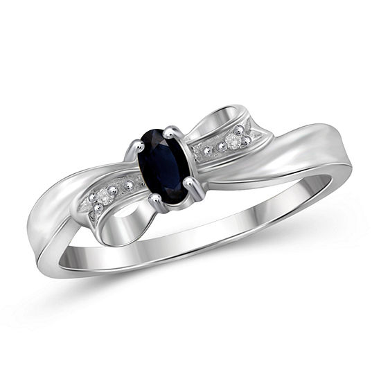 Womens Diamond Accent Genuine Blue Sapphire Sterling Silver Engagement Ring