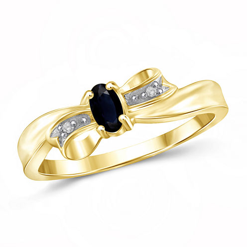 Womens Diamond Accent Genuine Oval Blue Sapphire Gold Over Silver Engagement Ring