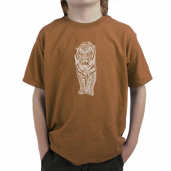 Los Angeles Pop Art A List Of Popular Endangered Species Boys Crew Neck Short Sleeve Graphic T-Shirt - Big Kid