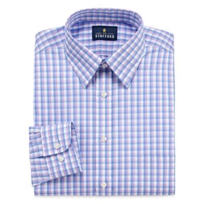 Stafford Long Sleeve Woven Checked Dress Shirt