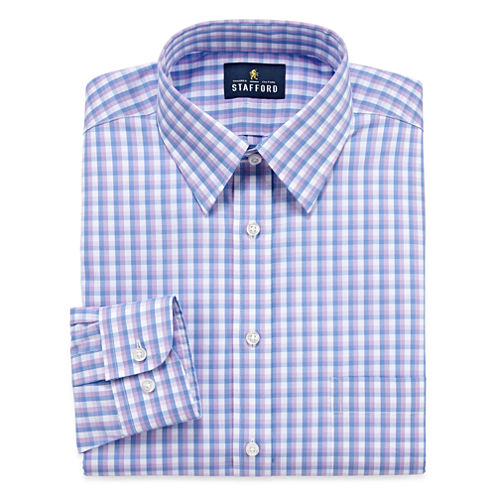 Stafford Long Sleeve Woven Checked Dress Shirt