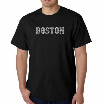 Los Angeles Pop Art Boston Neighborhoods Short Sleeve Word Art T-Shirt - Big and Tall