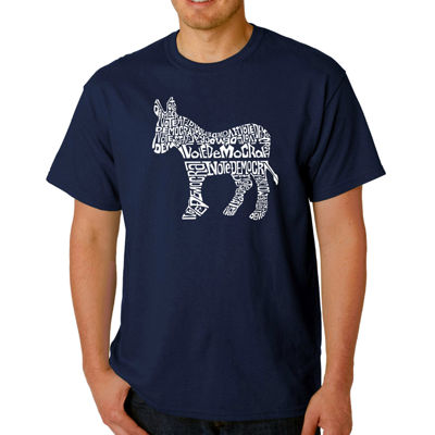 Los Angeles Pop Art I Vote Democrat  Short SleeveWord Art T-Shirt - Big and Tall