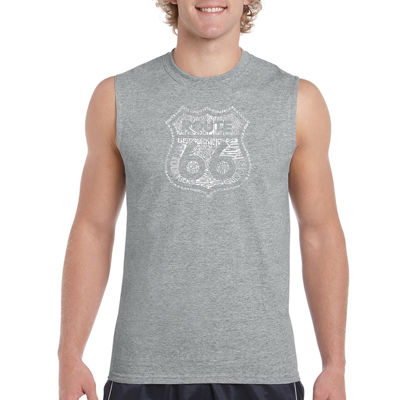 Los Angeles Pop Art Men's Get Your Kicks on Route66 Sleeveless T-Shirt - Big and Tall