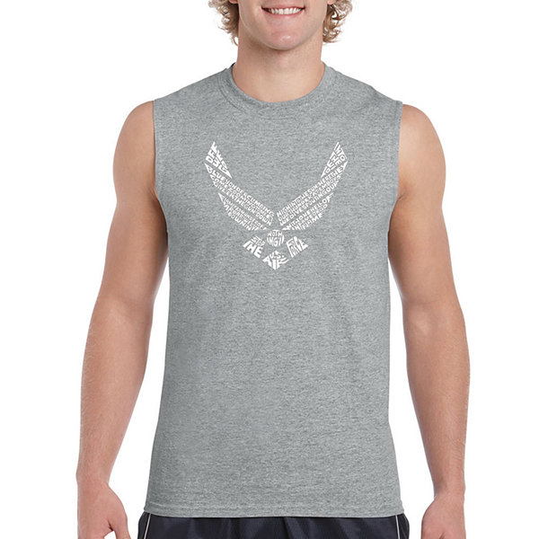 Los Angeles Pop Art Men's Lyrics to the Air ForceSong Sleeveless T-Shirt - Big and Tall