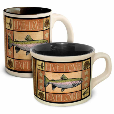 American Expedition 2pc Coffee and Soup Mug Set Trout
