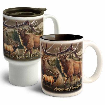 American Expedition Elk Collage Stoneware Mug Set2pc