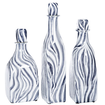"""Knox And Harrison 18"""" Striped Decorative Bottles"""