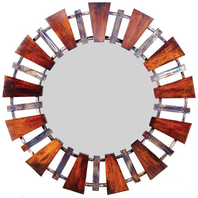 Knox And Harrison Iron With Distressed Wood Edges Wall Mirror